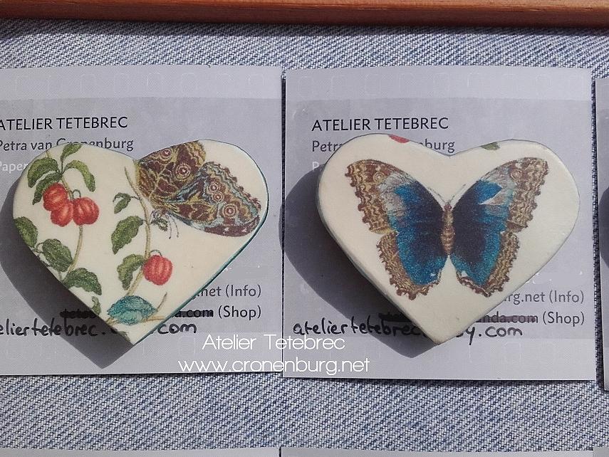2 Herzbroschen Schmetterlinge